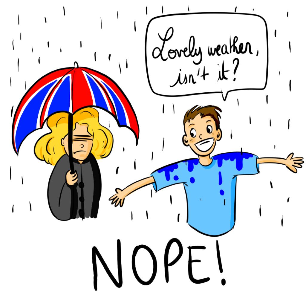 la météo anglaise; pluie et anglais e tshirt.